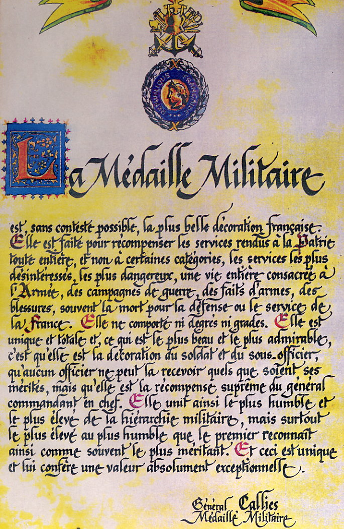 Lettre du Général Callies - Médaillé Militaire